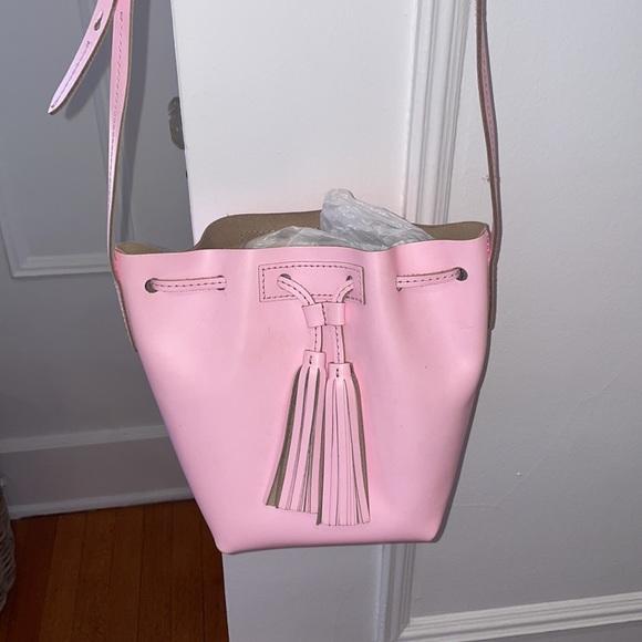 Jcrew pink leather bucket bag